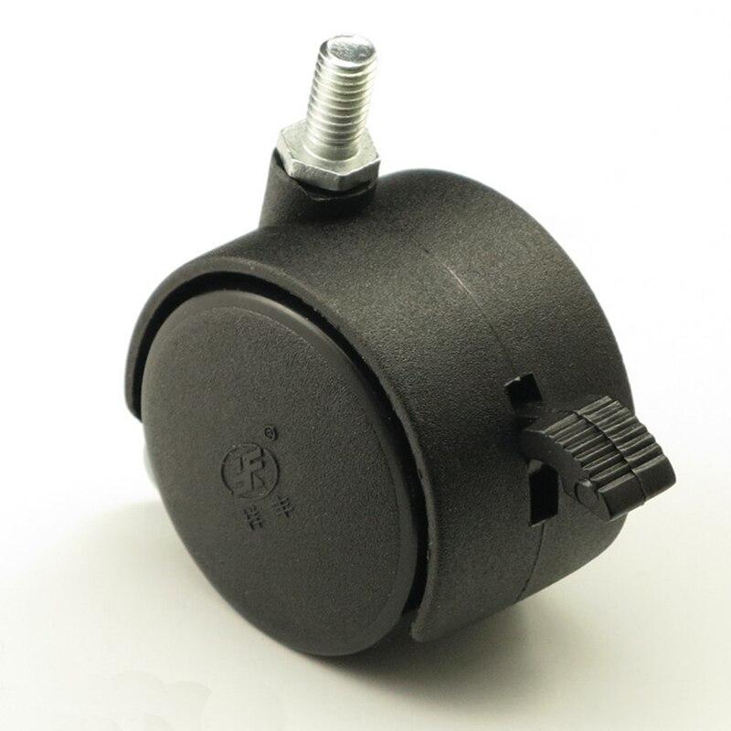 2u0027u0027 Black Plastic Brake Swivel Casters Chair Sofa Casters Wheels Roll  Furniture Hardware(