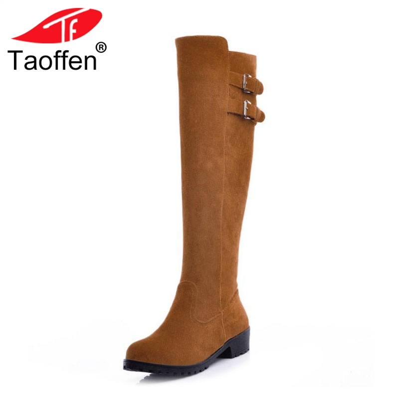 TAOFFEN 4 Color Women Knee High Boots Winter Buckle Warm Fur Shoes Woman Round Toe Flats Boots Fashion Long Boot Size 34-43 new women dress shoes knee high boots woman round toe high heels autumn winter long boot hot fashion riding boots big size 35 43