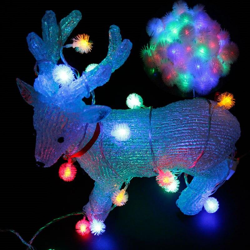 LED sting light RGB Fluffy Dandelion Hairball AC110V 220V 10M 50LED Chirstmas NewYear Wedding Birthday Party
