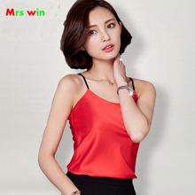 2017 new Sexy Silk Women's Camisoles Female Thin Slim Halter Tanks Tops  Female Basic body strap cross satin blouse