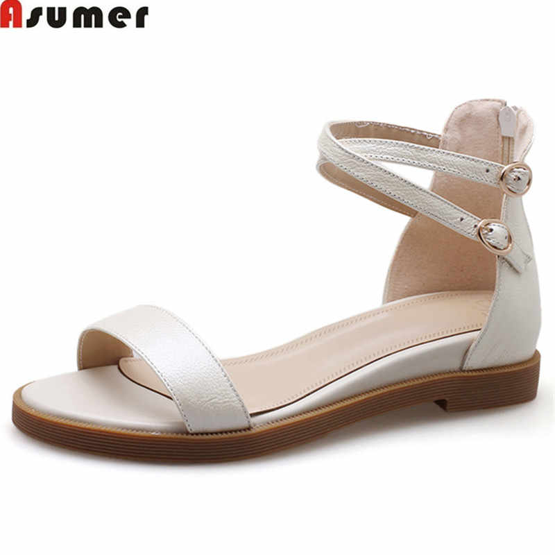 ASUMER 2019 summer new arrival shoes woman buckle casual comfortable sandals women zip wedges low heels genuine leather shoes