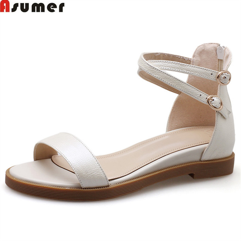 ASUMER 2018 summer new arrival shoes woman buckle casual comfortable sandals women zip wedges low heels genuine leather shoes fedonas new arrival gray pink women low heels casual shoes comfortable four season pointed toe loafers shoes woman
