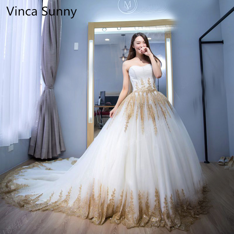 2018 Luxury Indian Wedding Dresses White Gold Applique