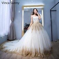2018 Luxury Indian Wedding Dresses White Gold Applique Sweetheart Sleeveless Bridal Gowns abiti da sposa Vestido De Novia