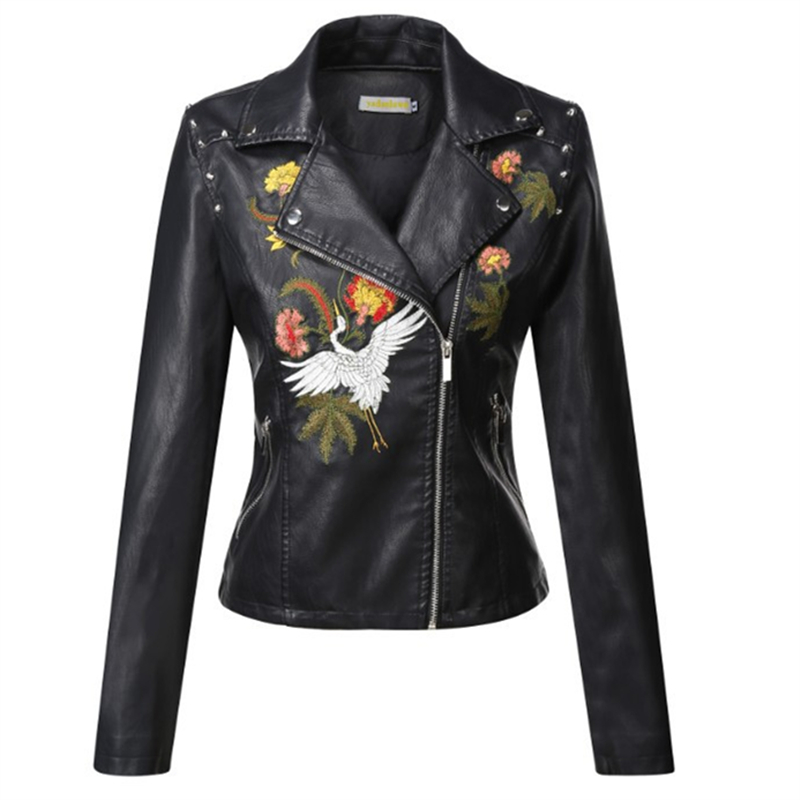 2019 Fashion New Embroidered   Leather   Jacket Women's Jacket Slim Short Embroidery Motorcycle   Leather   Collar Lapel H00157
