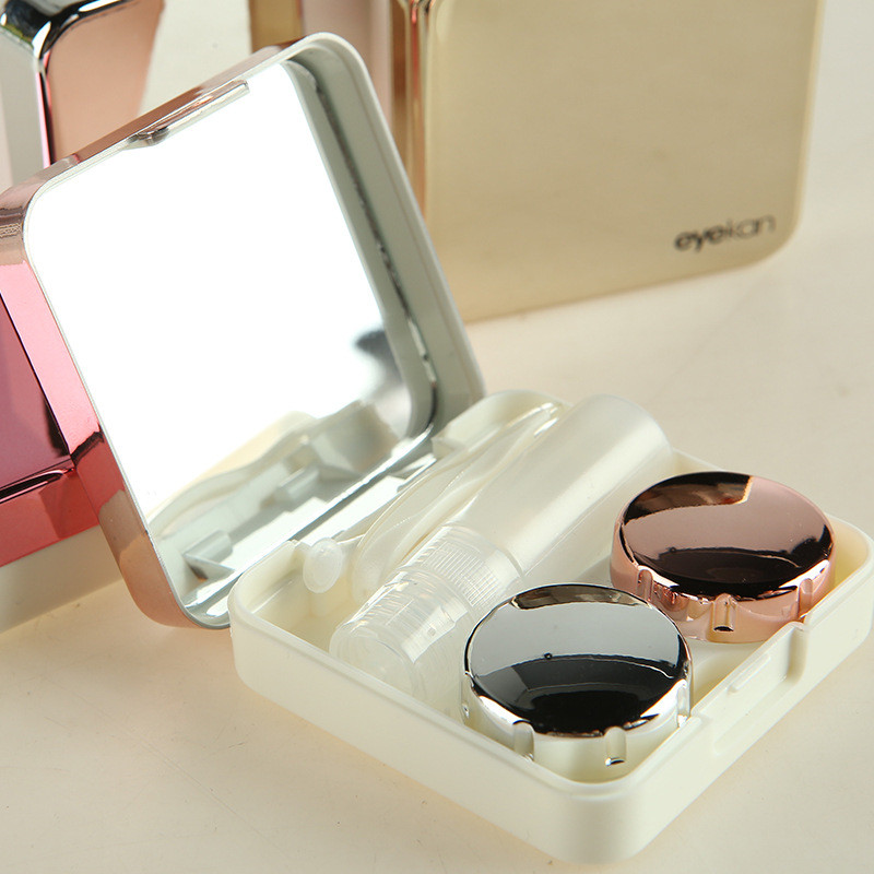 Colored Contact Lens Case With Mirror Women Colored Contact Lenses Box Eyes Contact Travel  Container Lovely Travel Kit Box