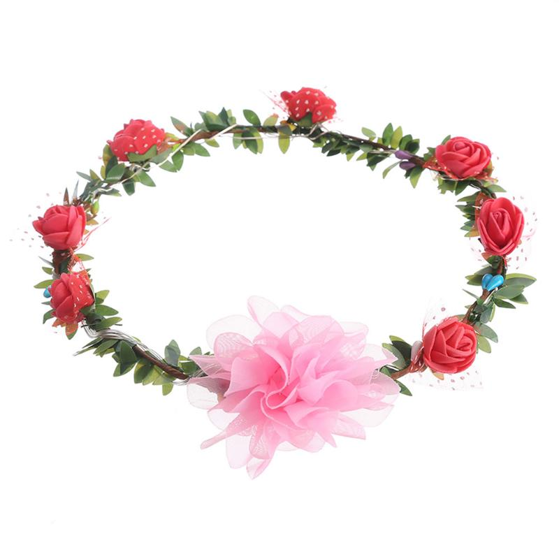 Beautiful Women Handmade Floral Tiara Crown Wreath Led Flower Headband Trombone Hair Garland Wedding Headpiece Hair Accessories As Effectively As A Fairy Does
