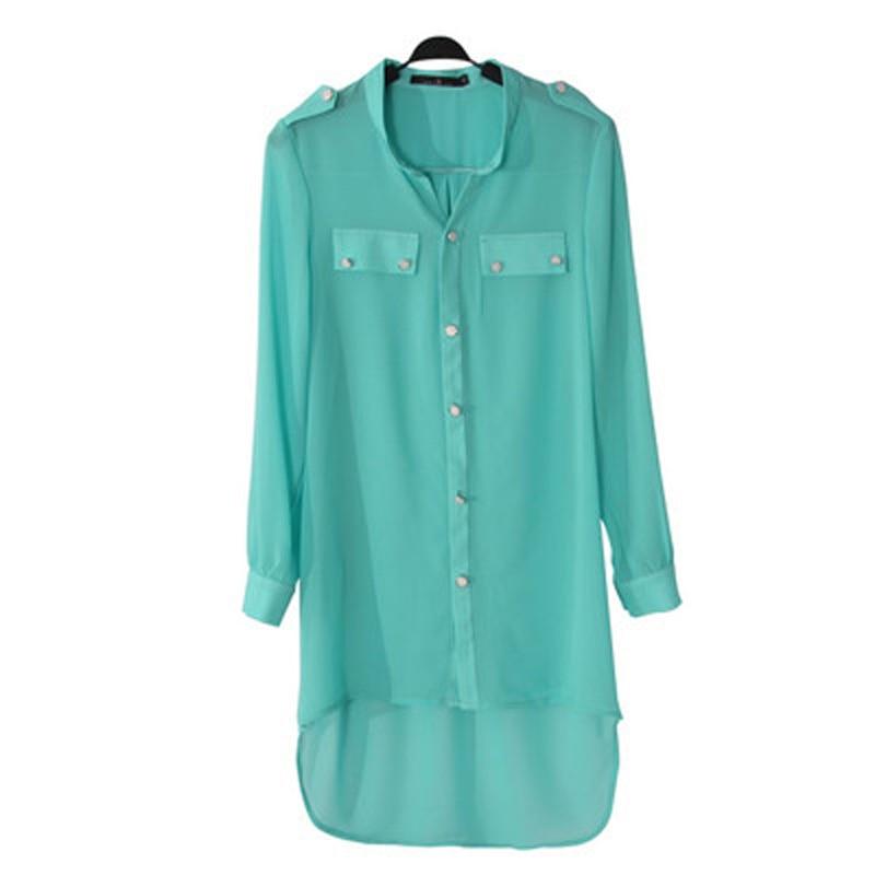 Bluza Femra Bluza Plus Madhësia 3XL Bluz Trupi Kimono Cami Femininas Camicas byrynxhyk Ngjyra e ëmbëlsirave të Tunisit Candy Long Model Shirts