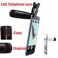 Zoom óptico 12x teleobjetivo lente del telescopio para samsung galaxy s7/s6 edge plus/nota 4 5 lentes de la cámara móvil con clip apl-12xsj