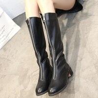 2018 Women Zip Thick Heel Warmer Plush Autumn Mid Calf Boots Ladies Platform Middle Heels Female Fashion Long Shoes