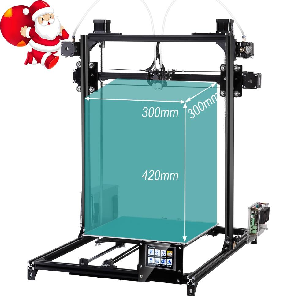 Flsun 3D Imprimante impression de grande taille 300x300x420mm Niveau Automatique extrudeuse double écran tactile 3d imprimante Un rouleau filament Chauffée Lit