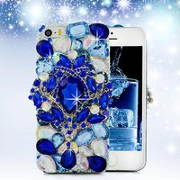 Blue Flower Elegant Diamond Case For IPhone 5 5S Bling Crystal Handmade Hard Back Cover Skin