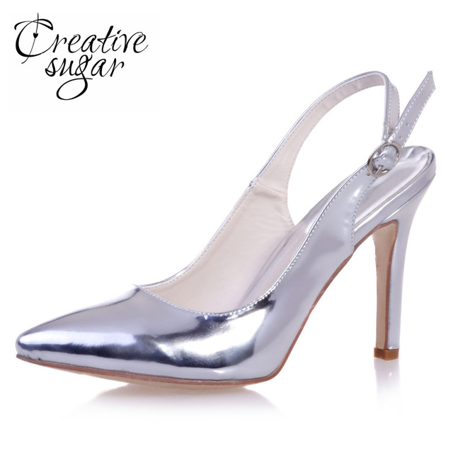 Creativesugar Metallic silver gold blue pointed toe slingback dress shoes sparkle pumps for party prom cocktail mirror 3 colors