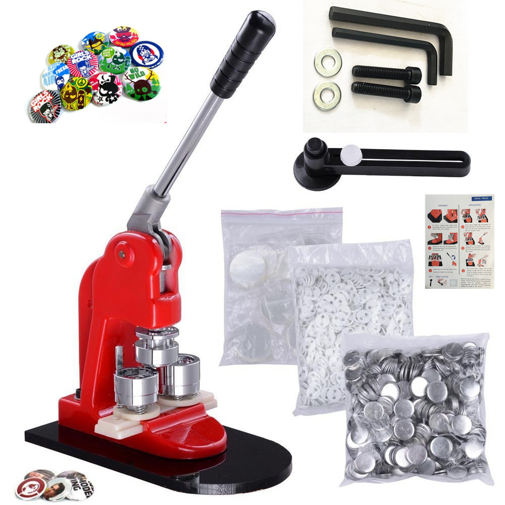 Factory 32mm Button Making Machine Kit Badge Maker Set With 500pcs Pin Button Badge With Free Paper Cutter