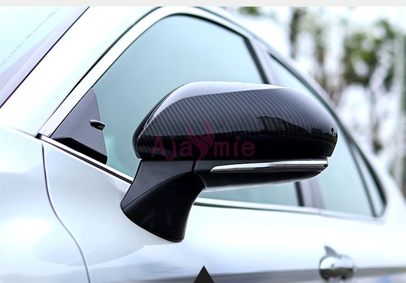 2018 Carbon Fiber Color Door Miror Overlay Cover Panel ABS Frame Chrome Car Styling For Toyota Camry Accessories
