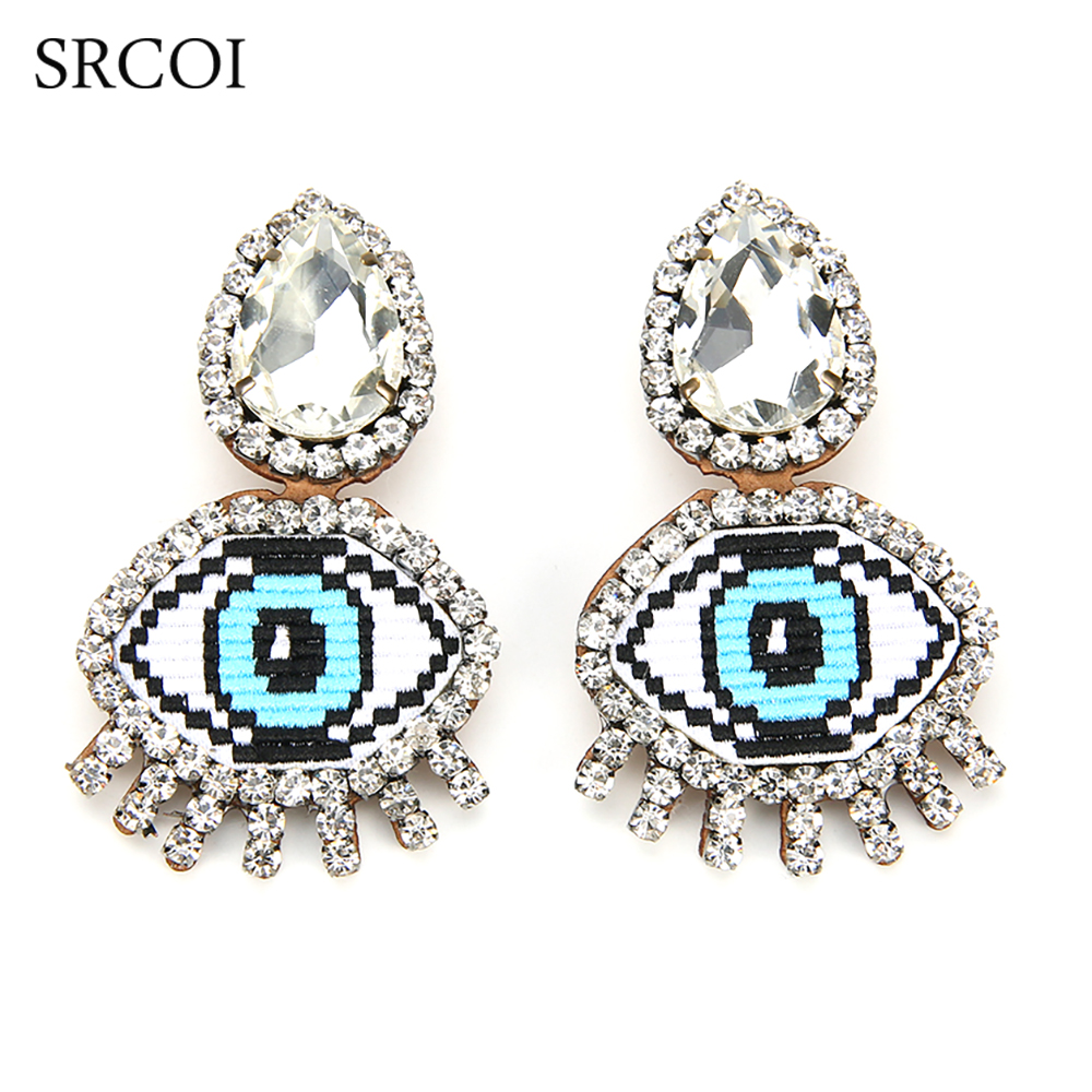 SRCOI Funny Blue Evil Eye Crystal Clip Earrings Big Expression Emoji Embroidery Rhinestone Earrings Without Piercing No HoleSRCOI Funny Blue Evil Eye Crystal Clip Earrings Big Expression Emoji Embroidery Rhinestone Earrings Without Piercing No Hole