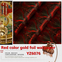 New Peacock Wallpaper Gold Foil Peacock Feather 3D Effect Wall Paper Home Decoration