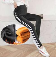 Maternity Cotton Leggings Pregnancy Elastic High Waist Trouser Support Fleece Lined Side stripe Pregnancy Pants for Women