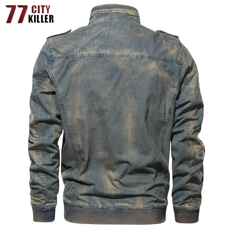 77 市キラーヴィンテージ軍事デニムジャケット男性ブランドボンバージャケット男性スリムフィットジーンズコートプラスサイズ M-6XL Jaqueta masculina
