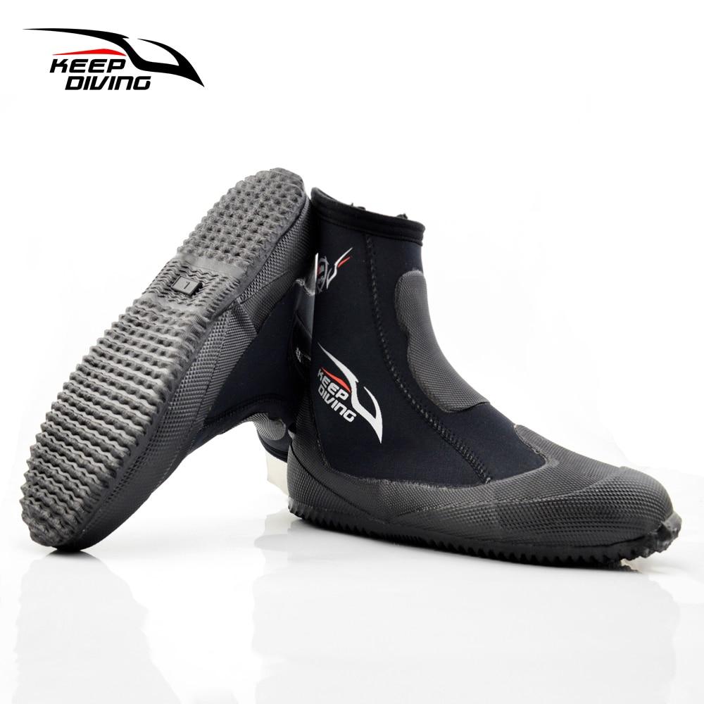 Mantener buceo de 5 MM zapatos de neopreno elástico alto buceo botas zapatos para la pesca submarina Kyaking Snorkeling surf