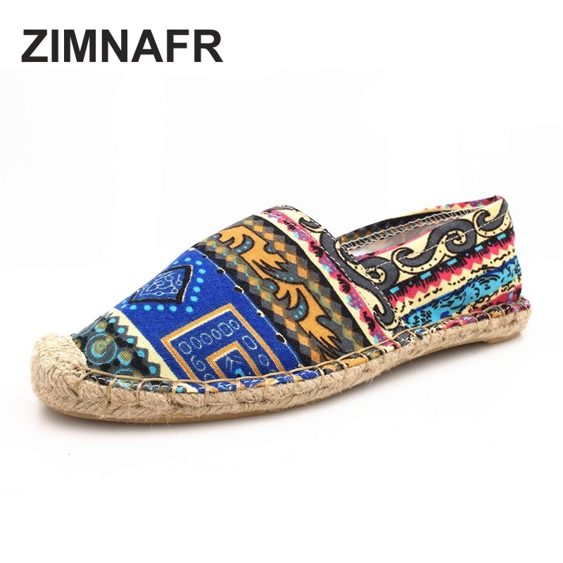 2017 ZIMNAFR brand Casual shoes female national wind hand painted color sewing comfortable breathable fashion flat