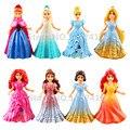 Princesa magiclip easy-vestir 8 pcs conjunto bonecas rapunzel pequena sereia branca de neve cinderela belle elsa anna figuras de merida toys