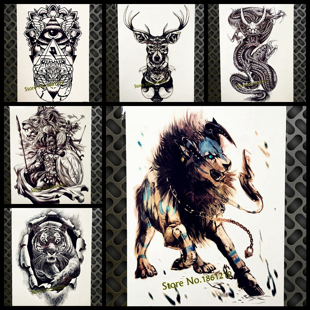 15 Magnificent Leo Tribal Tattoos: Fight Lion King Temporary Tattoo Sticker For Men Body ARM