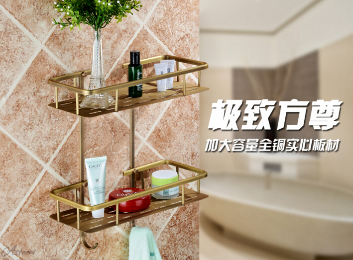 Bronze insgesamt massivem messing Wand Bad doppelhebel Eckregal Bad Shampoo Regal Bad Dusche Regal Seifenhalter - 2
