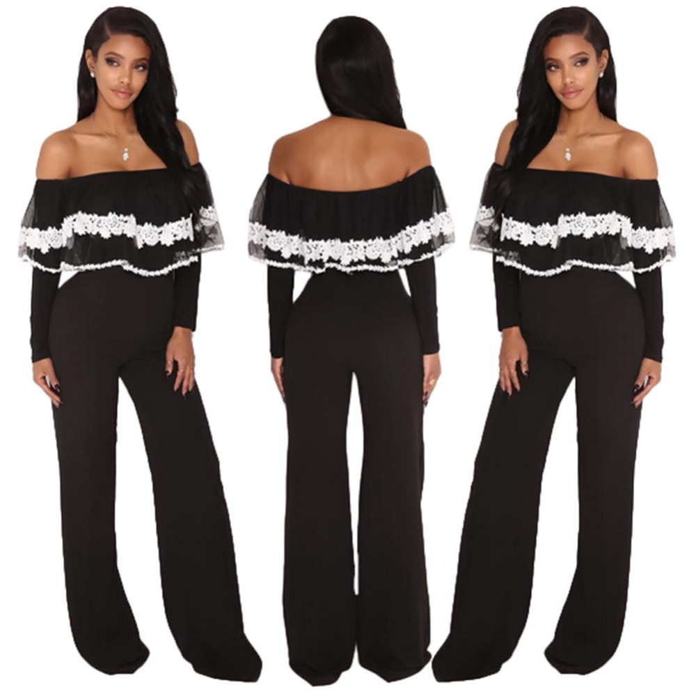 Sexy Off Shoulder Slash Neck Women Jumpsuits Ladies White Black Lacy Ruffles Details Long Sleeve Wide Legs Jumpsuits Full-Length