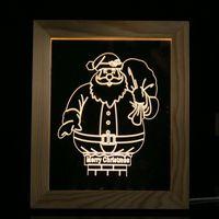 Creative 3D Wood Photo Frame Night Light USB Port Wood LED Desk Lamp Sailing Santa Claus