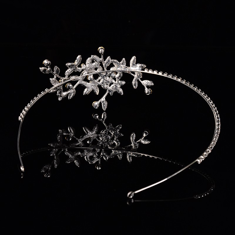 925 sterling silver luxury leaves design bridal tiara for women Austrian crystal wedding hair accessories 585 gold plated crown hair jewelry HF002 (3)