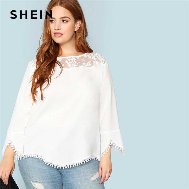SHEIN Plus Size White Sheer Lace Shoulder Trim Flare Sleeve Women Blouses Spring Summer New Elegant Wavy Hem Solid Top Blouse 1