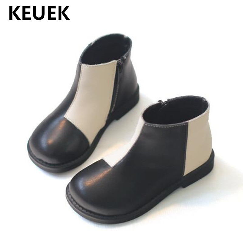 New Autumn Winter Ankle Boots Children Genuine Leather With Plush Baby Shoes Toddler Girls Snow Boots Kids Warm Fashion Boots 04 стоимость
