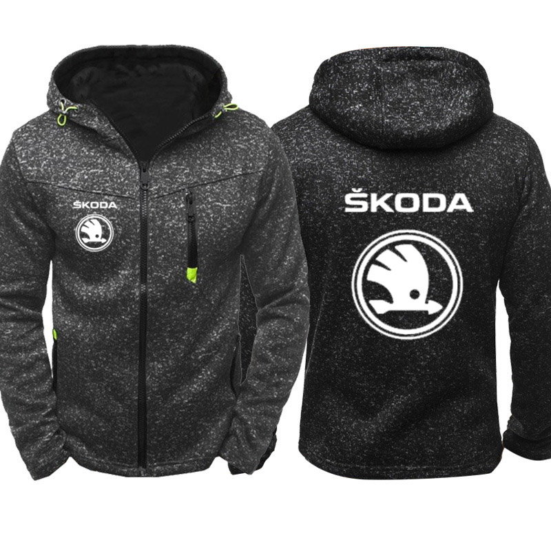 Hoodies Men Skoda Car Logo Print Casual Hip Hop Harajuku Long Sleeve Hooded Sweatshirts Mens Zipper Jacket Man Hoody Clothing