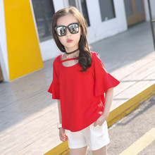 hot deal buy kids cloths 2019 new cotton pure color children clothing baby short sleeve tshirt+ shorts girls clothing sets 3-12