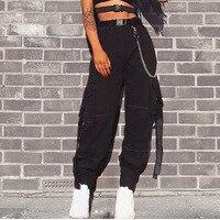 Women Loose Baggy Harem Trousers Withe Belt Fashion 2018 Female Black Joggers Sweatpants Pants Hiphop Dance Pants Plus Size
