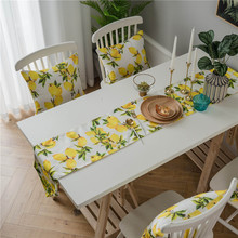 Countryside Lemon Print Table Runner Flag Solid Modern Tablecloth For Party Wedding Dining Room Restaurant Home Decoration
