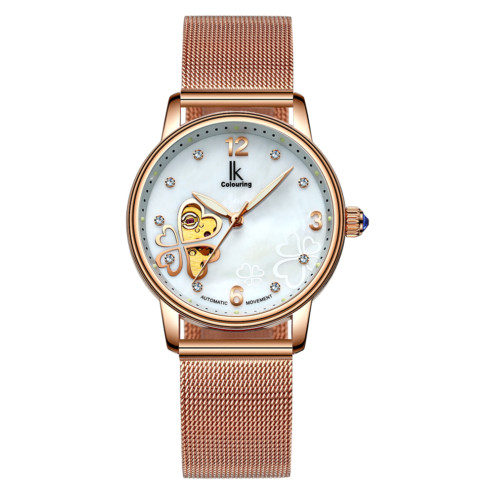IK Colouring Brand Women Watches Luxury Stainless Steel Bracelet Frauen Armbanduhr Flower Skeleton Crystal Dial Wristwatch