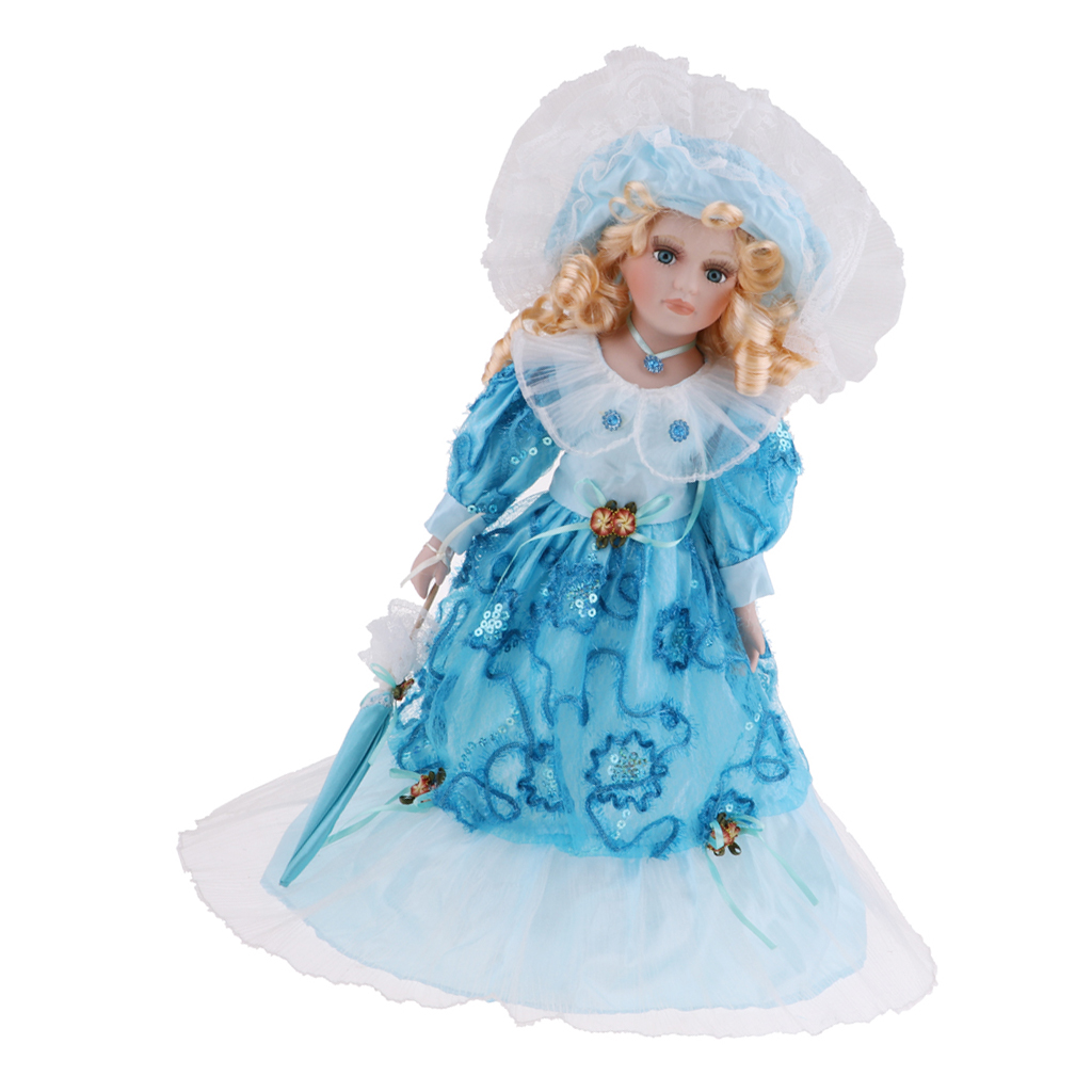 40cm Porcelain Lady Doll With Clothes & Stand Home Display Decor Girls Children's Gift