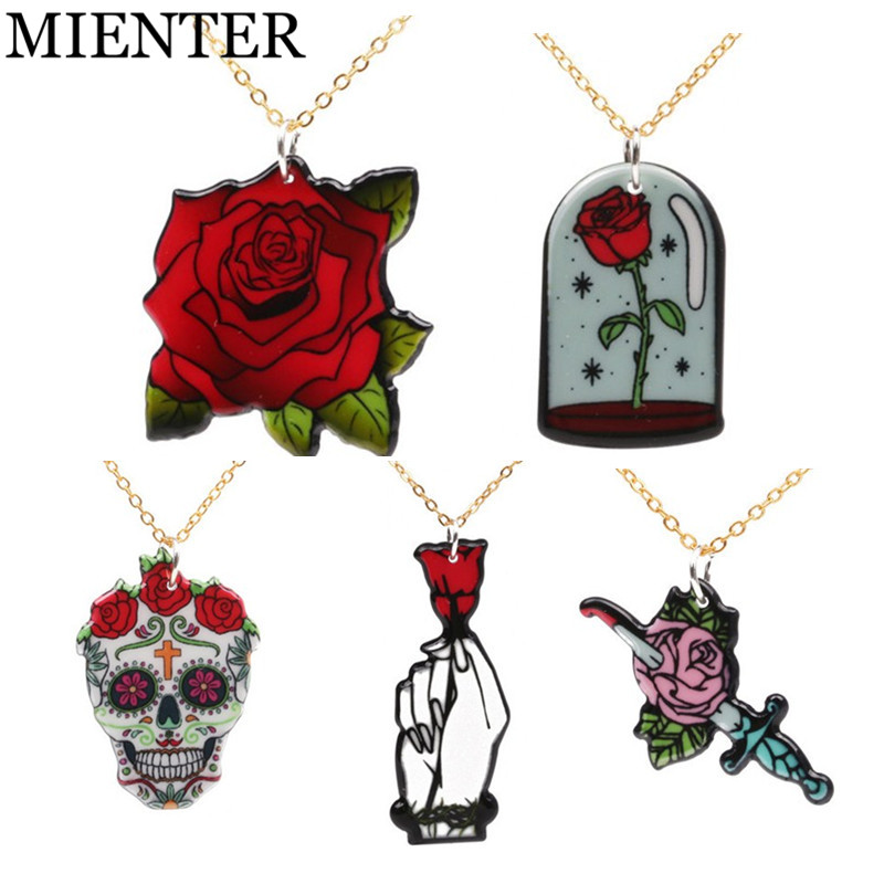 Hand holds rose flower skull Acrylic Women Necklaces & Pendants Men girl ghost cute Golden Link Chain Necklace Fashion MIENTER