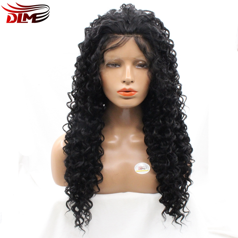 DLME lace front wig afro kinky curly 150% Japanese high temperature synthetic hair small curls free part women wig