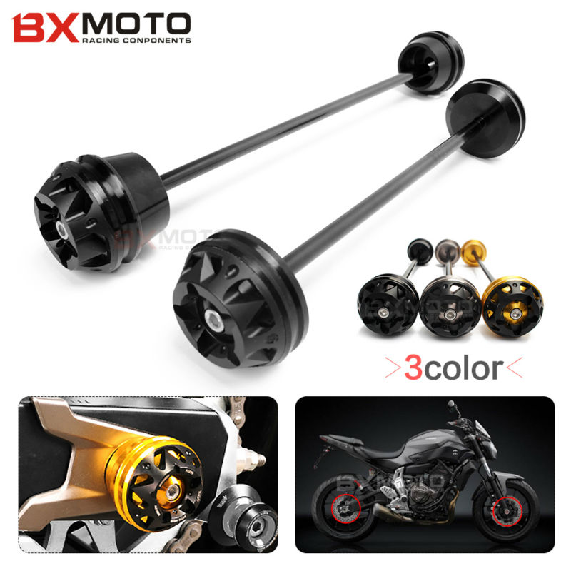 Motorcycle Front&Rear Wheel Axle Fork Crash Slider Frame Sliders For Yamaha MT07 FZ07 MT 07 FZ 07 2013--2017 Falling Protector new parts for yamaha mt07 mt 07 2013 2014 2015 aluminum motorcycle cnc crash pads frame slider protector falling protection