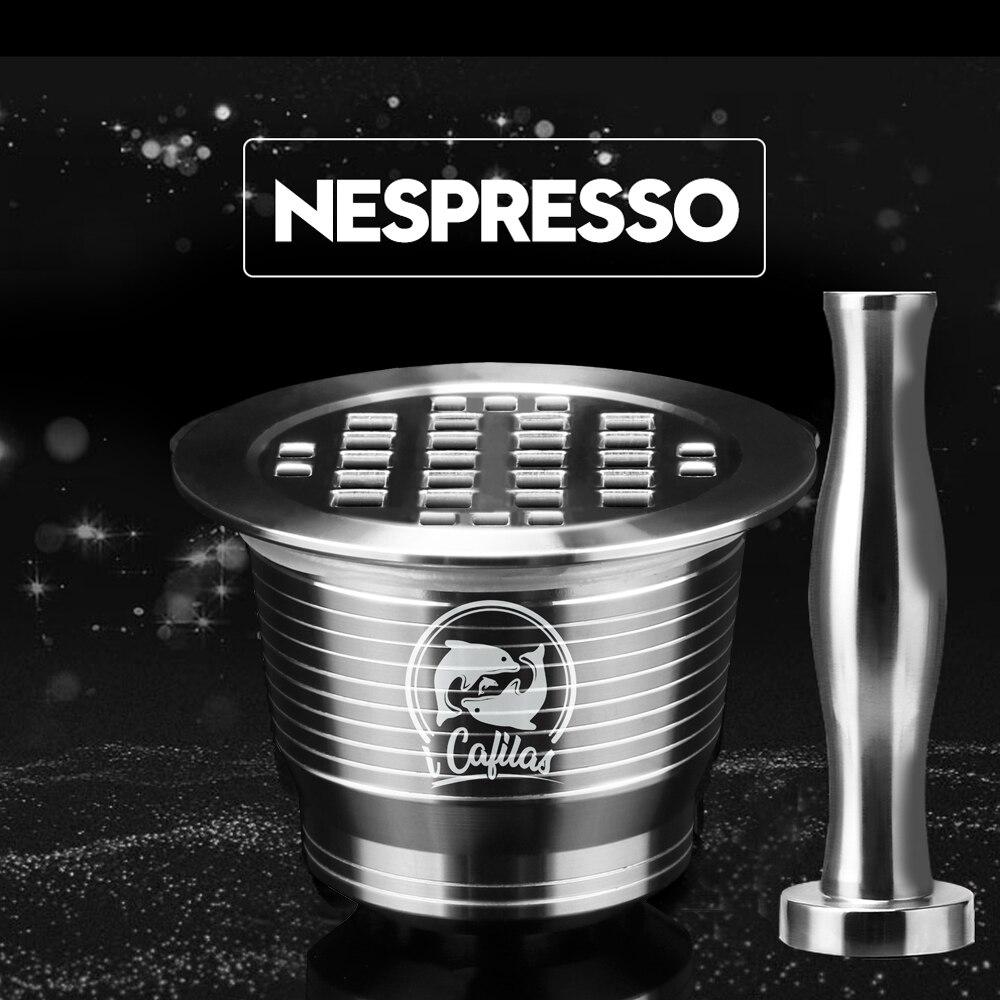 ICafilas Edelstahl Metall Wiederverwendbare Nespresso Kapsel mit Presse Kaffee Schleift Edelstahl Tamper Espresso Kaffee Maker Korb