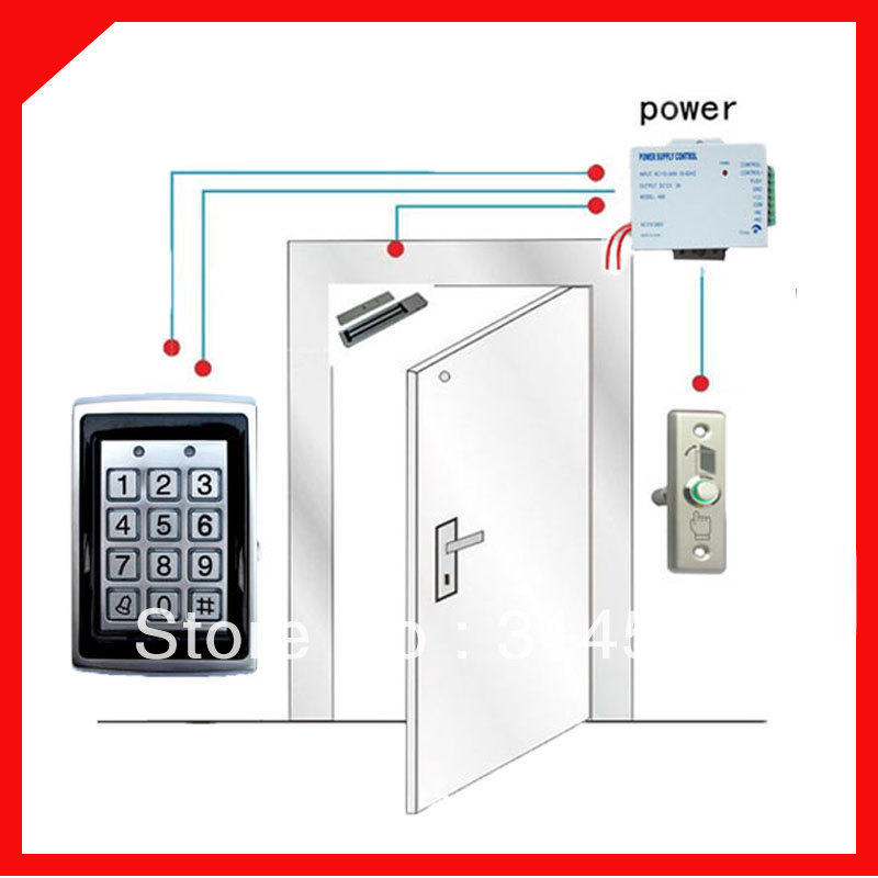 DIY 125Khz RFID Card KeyPad Access Contorl Machine With Access Control system +180 kg Magnetic Lock  12V3A Power supply