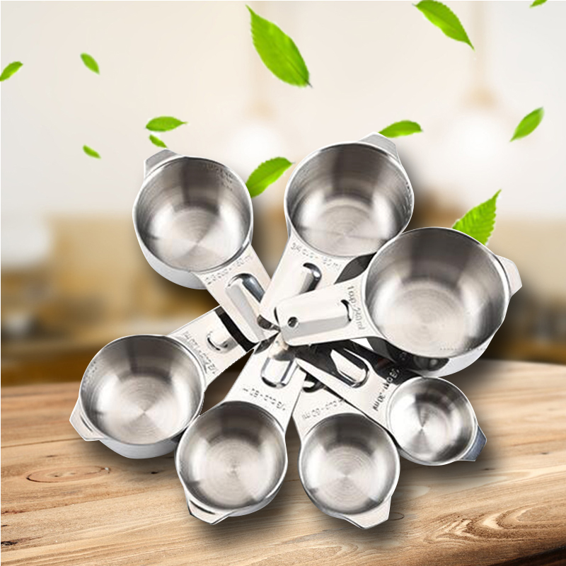 304 stainless steel 7 pieces Baking Cup Measuring Spoon / 240ml Kitchen Gadget with Scale Spoon Kitchen Tools four pieces of stainless steel scale capsule coffee spoon