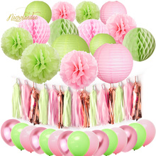 NICROLANDEE 45 pcs/set Green Pink Rose Gold Summer Wedding Birthday Anniversary Party Decoration Kit DIY Home New Decor