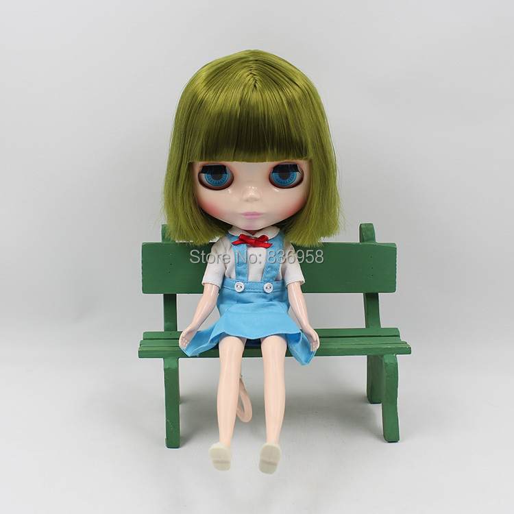 купить free shipping blyth doll icy licca BL4289 GREEN short HAIR with bangs/fringes normal body 1/6 30cm онлайн