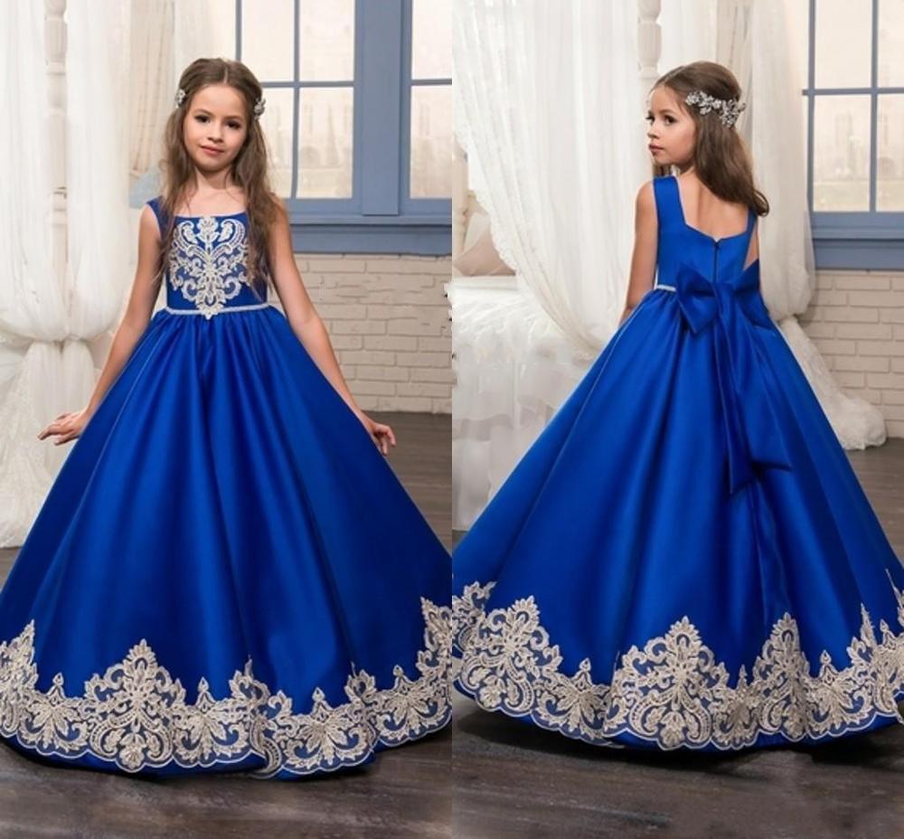 Royal Blue Long Summer Girl Dresses Big Bow Flower Girl Dresses Gold Applique Girls Pageant Dress First Communion Dresses