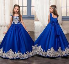 Королевский синий длинный лето девушка платья большой бант цветок девушка платья золото аппликация девушки театрализованное представление платье первое причастие платья