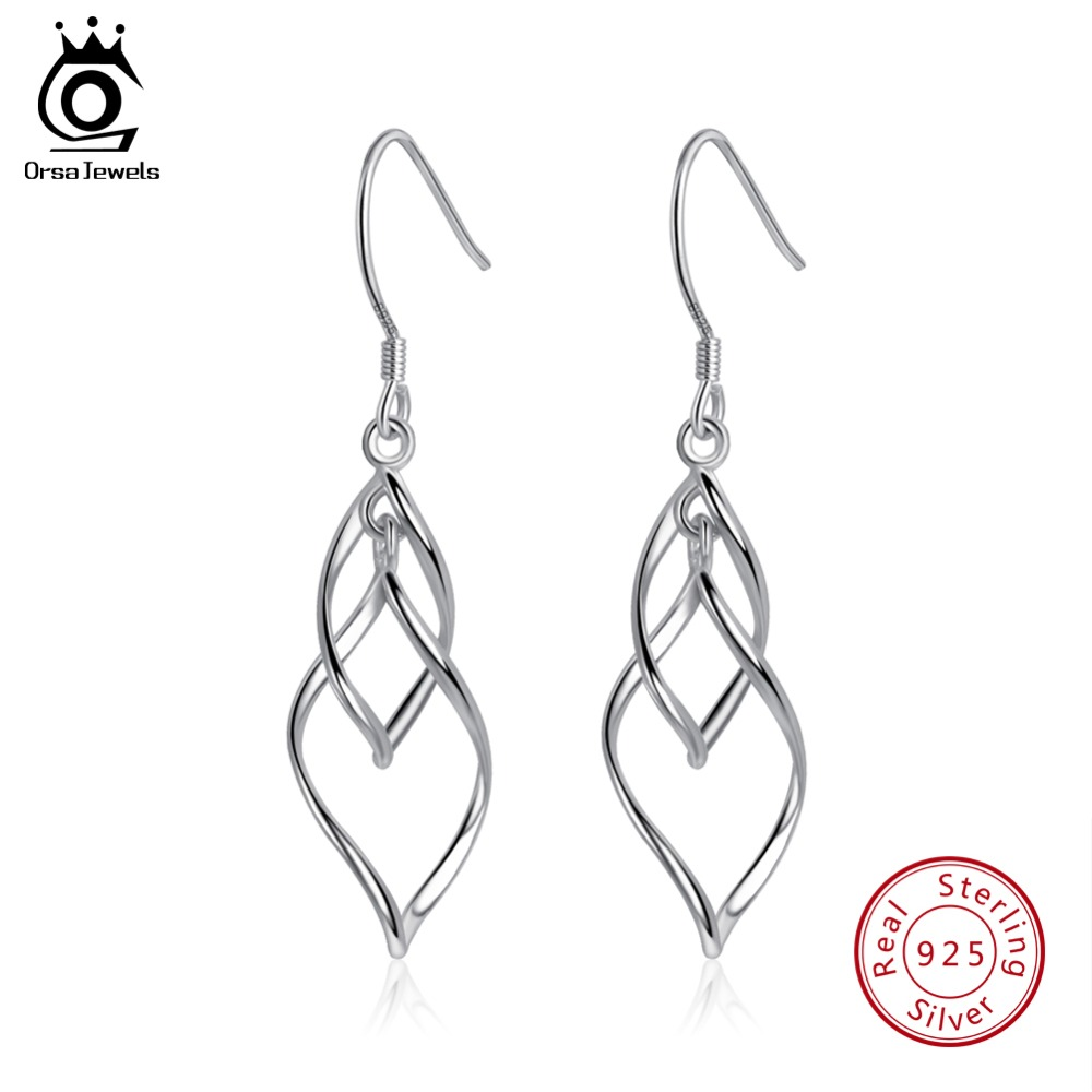 ORSA JEWELS Authentic Sterling Silver 925 Drop Earrings For Women Unique Design Perfect Polished Earring Trendy Jewelry SE73